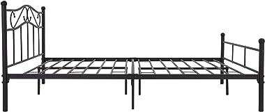 ML-Design Cadre de Lit Métallique 160 x 200 cm, Noir, 2 Personnes, en Acier, Revêtement en Poudre, avec Tête et Pied de Lit,