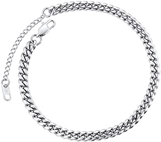 Ankle Chains for Men Teen Girls 316L Stainless Steel Barefoot Jewelry Silver Color
