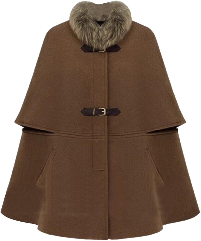 BYWXWomen Batwing Wool Poncho Cloak Pea Coat Faux Fur Collar