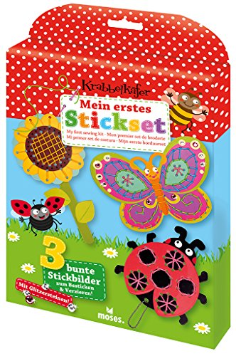 moses. Krabbelkäfer Mein erstes Stick-Set , Mit Glitzer-Stickern zum Verzieren , Für Kinder ab 5 Jahren