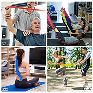 HiBay Resistance Bands Set 3 Packs Elastic Exercise Bands for Physical Therapy Tension Band Recovery Band Workout Stretch Bands for Strenght Training Pilates Yoga Arms Upper Body and Shoulders