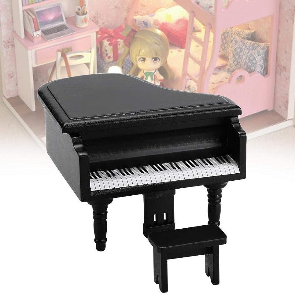 傾斜教え地上でミニチュアサイズのミニドールハウスピアノ、美しい外観の上品な家具付きドールハウスピアノスツールセット、家庭用子供用(black)