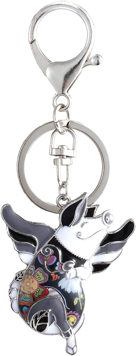 Luckeyui Unique Flying Pig Keychains for Women