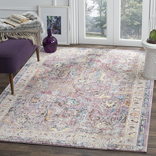 Safavieh Bristol Collection BTL357P Lavender and Light Grey Oriental Distressed Bohemian Area Rug (3' x 5')
