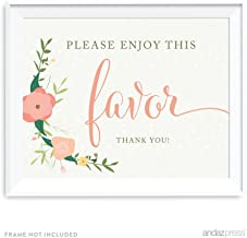 Andaz Press Floral Roses Girl Baby Shower Collection, Party Sign, Please Enjoy This Favor Thank You!, 8.5x11-inch, 1-Pack