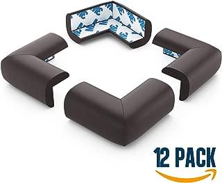 Foam Furniture Corner Protectors for Baby, Pre-Applied 3M Tape, 12 Pack, Brown