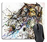 Knseva Personalized Abstract Haboku Splash-Ink Night Owl Art Computer Gaming Mouse Pad, Vintage Colored Owl Painting Artwork Mouse Pads for Laptop