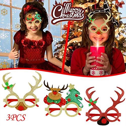 HWTOP Weihnachtsbrille Rahmen Cartoon Stereo Weihnachten Glasrahmen Brillengestelle Erwachsene und Kinder Dekoration Weihnachtsgeweih Santa Dekoration Gläser, 3pcs Mehrfarbig1