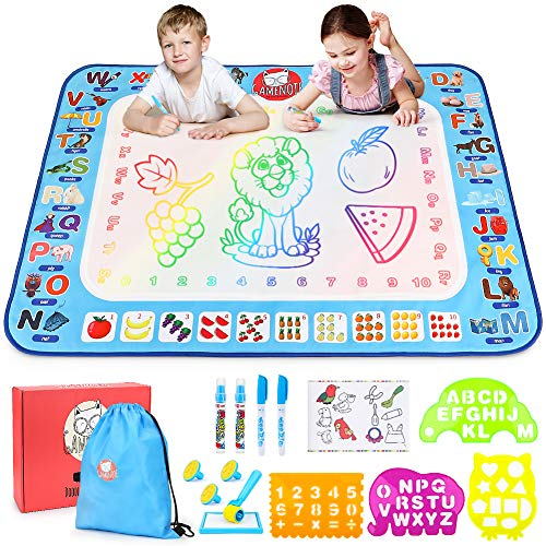 Gamenote Water Magic Mat - 40x30 Extra Large Doodle Water Drawing Mats No Mess Coloring Educational Painting Toys for Toddlers Boys Girls Age 3 4 5 6 7 8 Year Old
