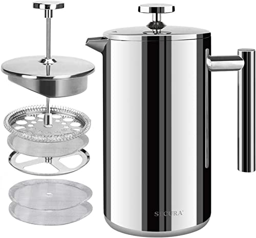 Secura French Press Coffee Maker, 304 Grade Stainless Steel Insulated Coffee Press with 2 Extra Screens, 50oz (1.5 Li...