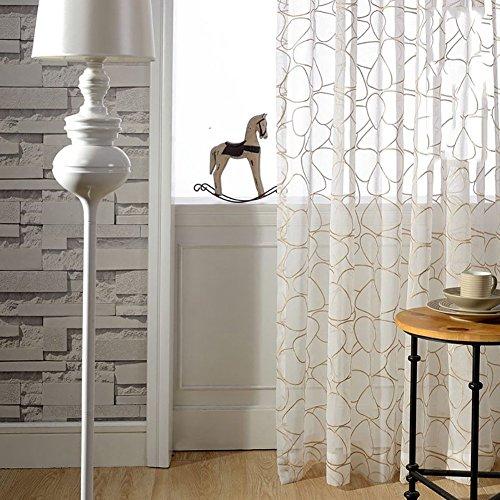 Rideaux et drapés transparents en fil blanc avec pavés brodés pour traitement des fenêtres Produit fini à œillets pour le salon Blanc 250 x 270 cm