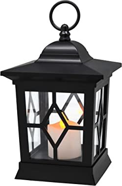 YAKii Hanging LED Flameless Candle Lantern,Yellow Light Flicker Battery Operated,Plastic,Black