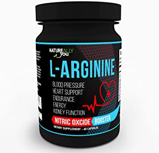 NATUREALLY YOU© - L-Arginine (60 Capsules) - Nitric Oxcide Booster * - Helps with Blood Pressure, Heart, Endurance, Energy, Kidney Function*