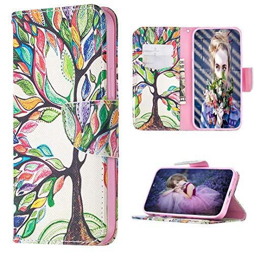 FLYEE Compatible with iPhone 12/iPhone 12 Pro(6.1 inch,2020 Release),Wallet Case for Women and Girls with Card Holder,Ultra Slim Flip Case Cover Premium Leather with Card Slots & Kickstand-Life Tree