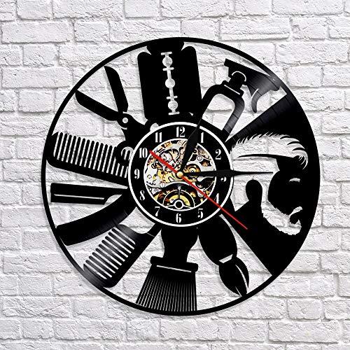 wtnhz LED-Barbershop wall clock plan vintage hairdresser with beard beard styling vinyl record 3D wall clock art wall decoration