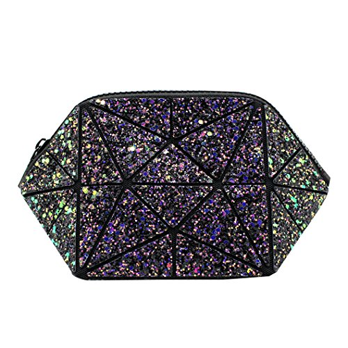 Geometric Glitter Sequins Wristlet Purse Bling Evening Handbag Makeup Bag Clutch Wallet for Women Girls
