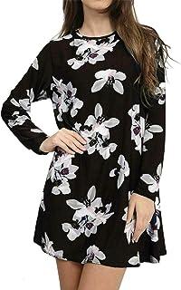 Femmes à manches longues robe Swing Imprimé Une Ligne Robe Patineuse Femme Taille 8-26