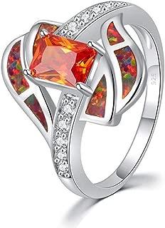 CiNily Gemstone Ring-Orange/White/Blue Opal 18K White Gold Plated Zircon Garnet Birthstone Women's Antique Ring/Twisted Bow Knot Gift Ring 5-12