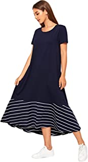 SheIn Women's Casual Round Neck Short Sleeve Striped Tunic Maxi Dress