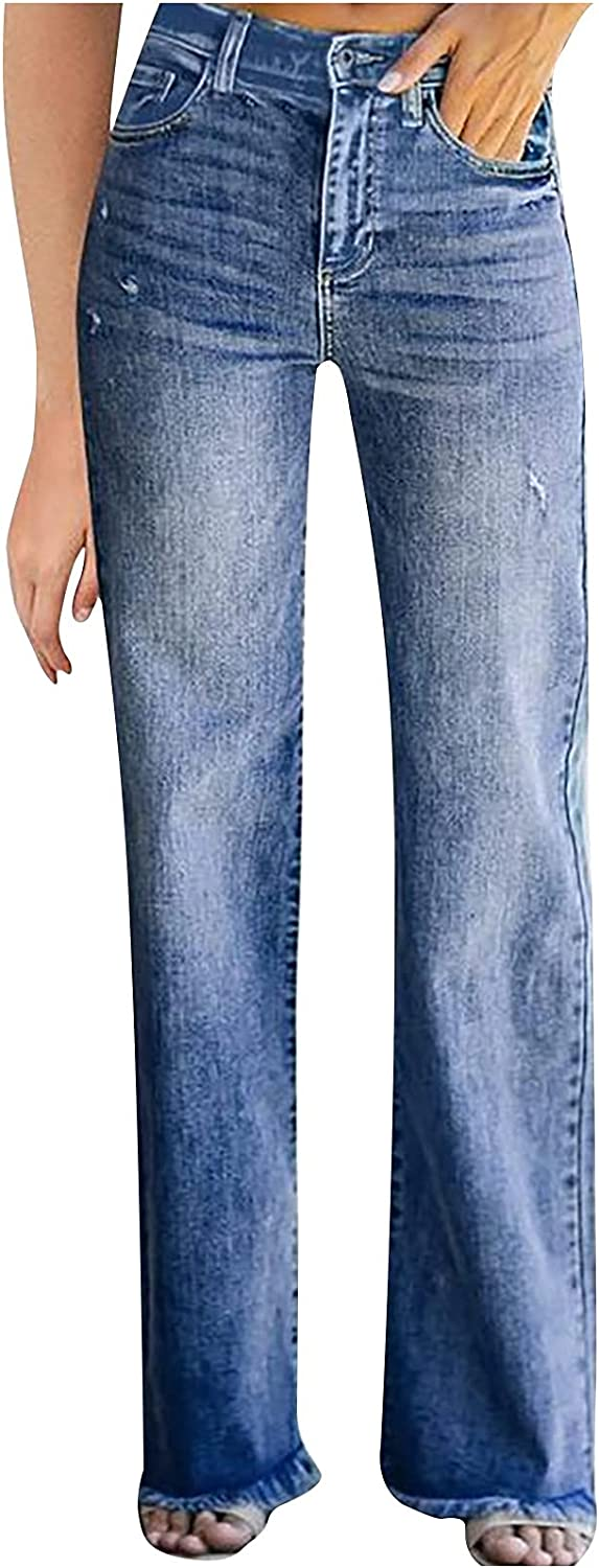 MIVAMIYA Women's Bootcut Mom Jeans High Waisted Fray Hem Boyfriend Relaxed Fit Straight Wide Leg Y2k Distressed Jeans Pants