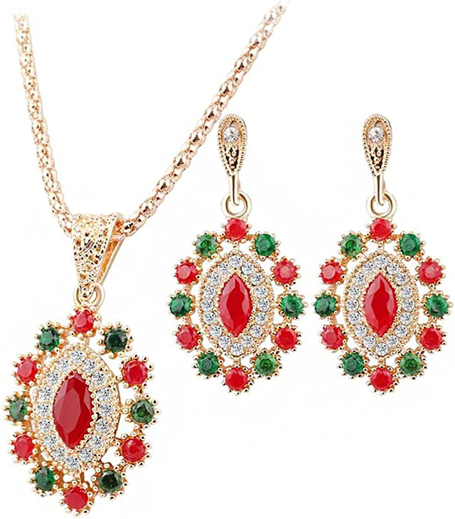 Ranking TOP18 SONTONXON Jewelry Set sale Red Crystal for Co Necklace Earrings Women