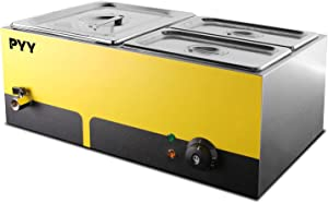 Commercial Food Warmer Steam Table Food Steamer Buffet Warmers Electric Heater Stainless Steel Cooker for Restaurant Catering Parties Bread Vegetable Bun Meat (1 half and 2 quarter size pans)