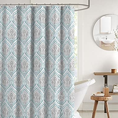 Bright Aqua Grey White Fabric Shower Curtain: Decorative Floral Paisley Damask Design, 70  x 72  inches