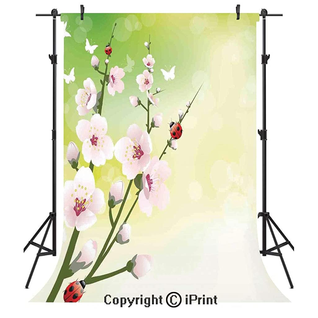 Ladybugs Photography Backdrops,Blooming Flowers in The Field and Ladybugs Japanese Leaf Petals Nature Graphic,Birthday Party Seamless Photo Studio Booth Background Banner 3x5ft,Green Pink