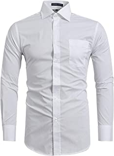 FLY HAWK Men's Dress Shirts Slim Fit Solid Long Sleeve Formal Work Shirts for Wedding Business