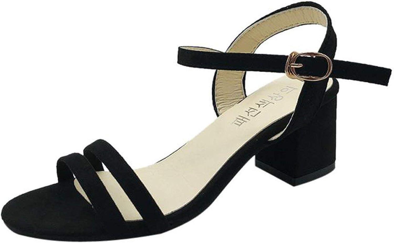 ALWAYS ME Womens Sandals Summer Black Open Toe Heels Mid Heel Leather shoes Sandals Elegant Ladies Sandals