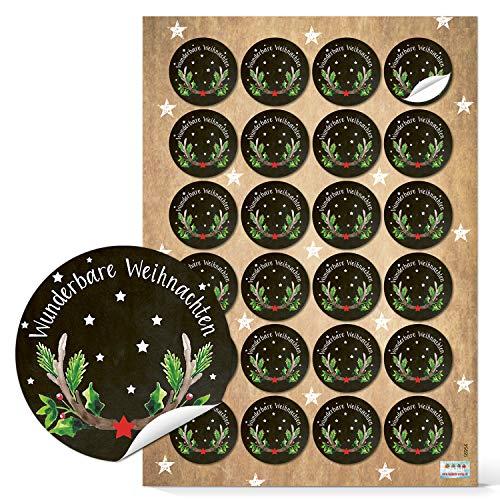 Logbuch-Verlag 24 runde Weihnachtsaufkleber WUNDERBARE WEIHNACHTEN schwarz rot grün Geweih Hirsch selbstklebend Etiketten Verpackung Geschenke