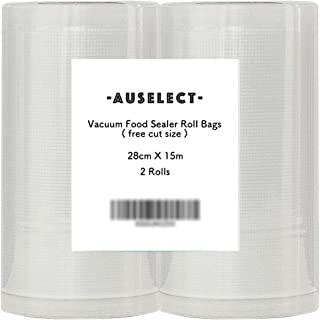 2-Roll 15-Meter Vacuum Food Sealer Roll Bags 28CMX15M 2PACK AUSELECT Saver Seal Storage Heat Commercial Grade Bag Rolls fo...