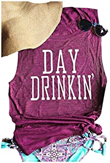 TAKEYAL Women`s Day Drinking Casual Tank Tops, Funny Letters Print Vest T-Shirt