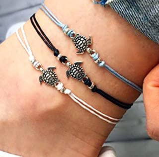 Leiothrix Boho Anklets Bracelet Woven Turtle Chain Foot Jewelry for Beach Party Casual (Style |)