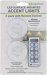 Capstone Wireless LED Surface-Mounted Accent Lights - Push Button Dome with Adhesive Tape & Remote Control – 3 Bright White LED Bulbs Ideal for Holiday, Mood, Accent & Special Event Lighting - 2 Count