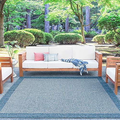 Tayse Largo Denim Outdoor 8 Foot Square Area Rug for Living, Bedroom, or Dining Room - Solid