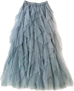 Femiserah Women's Long Rainbow A Line Tulle Tutu Skirts Tiered Skirt Petticoat