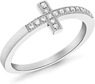 Tuscany 纯银镀铑方晶锆石十字戒指