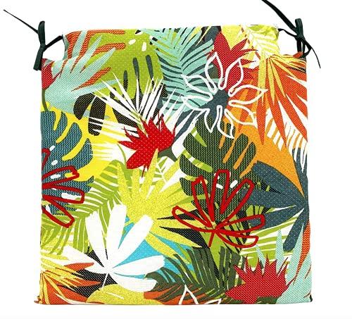 TIENDA EURASIA® Pack de 4 Cojines para Sillas - Estampado Selva Tropical - 2 Cintas de Sujeción - Ideal para Interiores y Exteriores - 40 x 40 x 3 cm (Color)