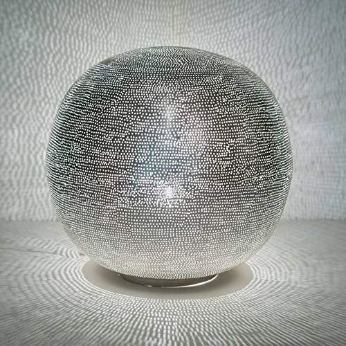 Ball FILISKY – Lámpara de mesa de color plata Ø 40 cm – Lámpara de mesa Zenza...