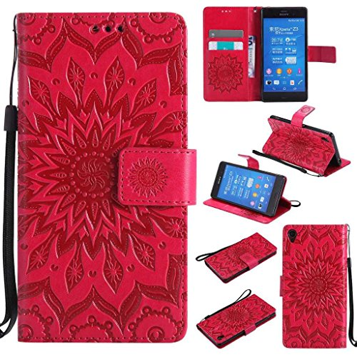 BoxTii Coque Sony Xperia Z3, Etui en Cuir de Première Qualité, Housse Coque pour Sony Xperia Z3 (#5 Rouge)