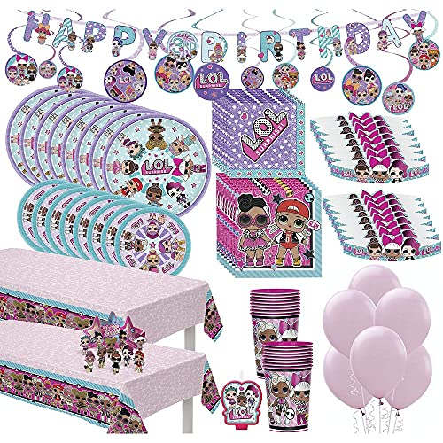 Party City LOL Surprise! Ultimate Party Kit for 16 Guests, 193 Pieces, Includes Tableware, Cups, Tiaras, and Balloons