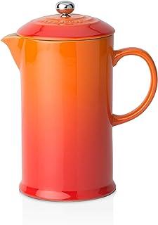 Le Creuset Stengods café fransk press med rostfritt stål kolv, 1 liter, tjänar 3-4 koppar, vulkanisk orange, 9102820009000