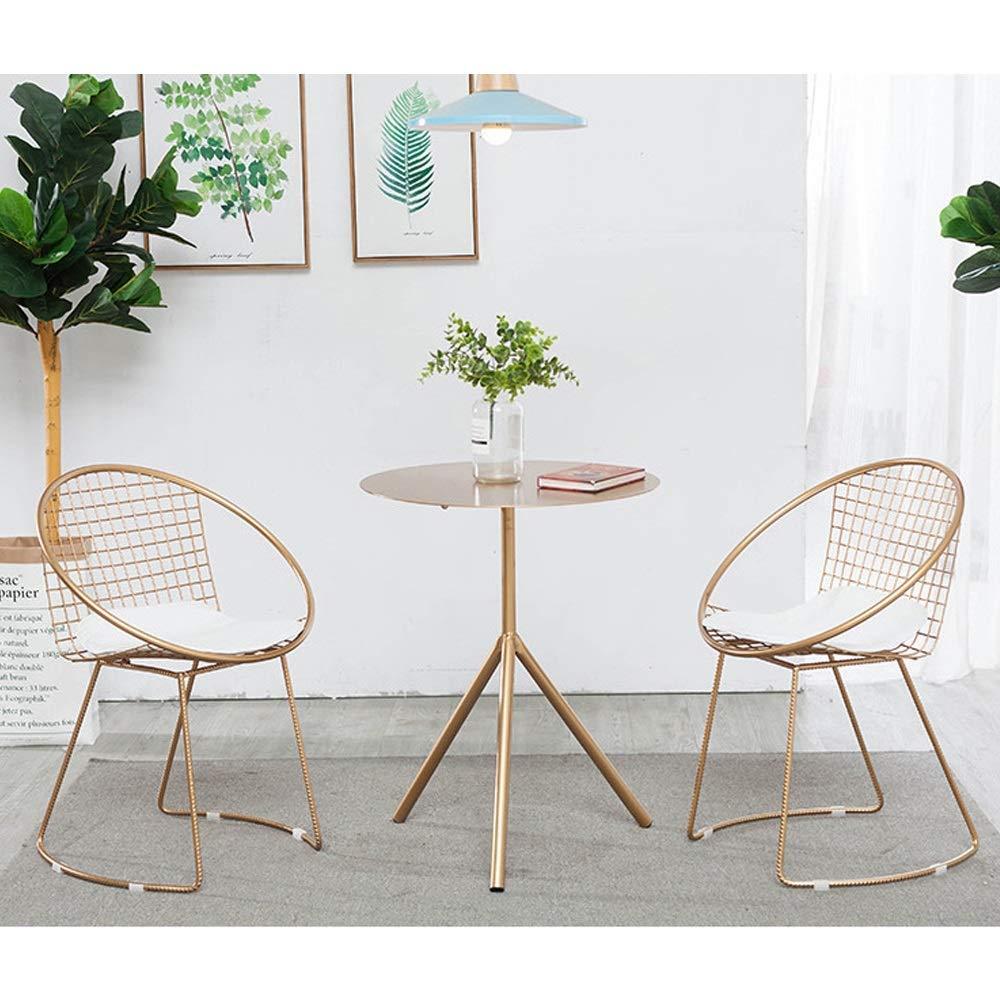 LF-chair Silla nórdica for Silla de Hierro Forjado, Silla reclinable Individual Hueca for Mesa y sillas de jardín y Patio al Aire Libre con combinación al Aire Libre (Color : A+a+b): Amazon.es: