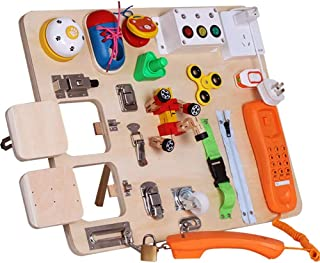 Develops Basic Skills And Fine Motor Skills Educational Learning Toy For Airplane Or Car Travel Xianghaoshun Busy Board Montessori Locks Latches Sensory Activity Board For Toddlers