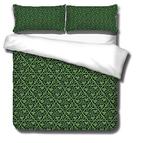 Duvet Cover Set 3 Piece,3D printing Duvet Set Bedding Set for 135 * 200cm Single Bed with 2 Pillowcases.Adult and child's style: Green vineman