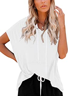 Vivitulip Women's Short Sleeve Tops Casual Loose Fit Pocket Tunics Hoodies Shirts