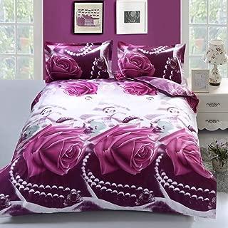 wuy Duvet Cover Set 3D Purple Rose Printing Comfortable Bedding Set Bed Cover Duvet Cover Sets Linens (Size: Queen 3PCS)