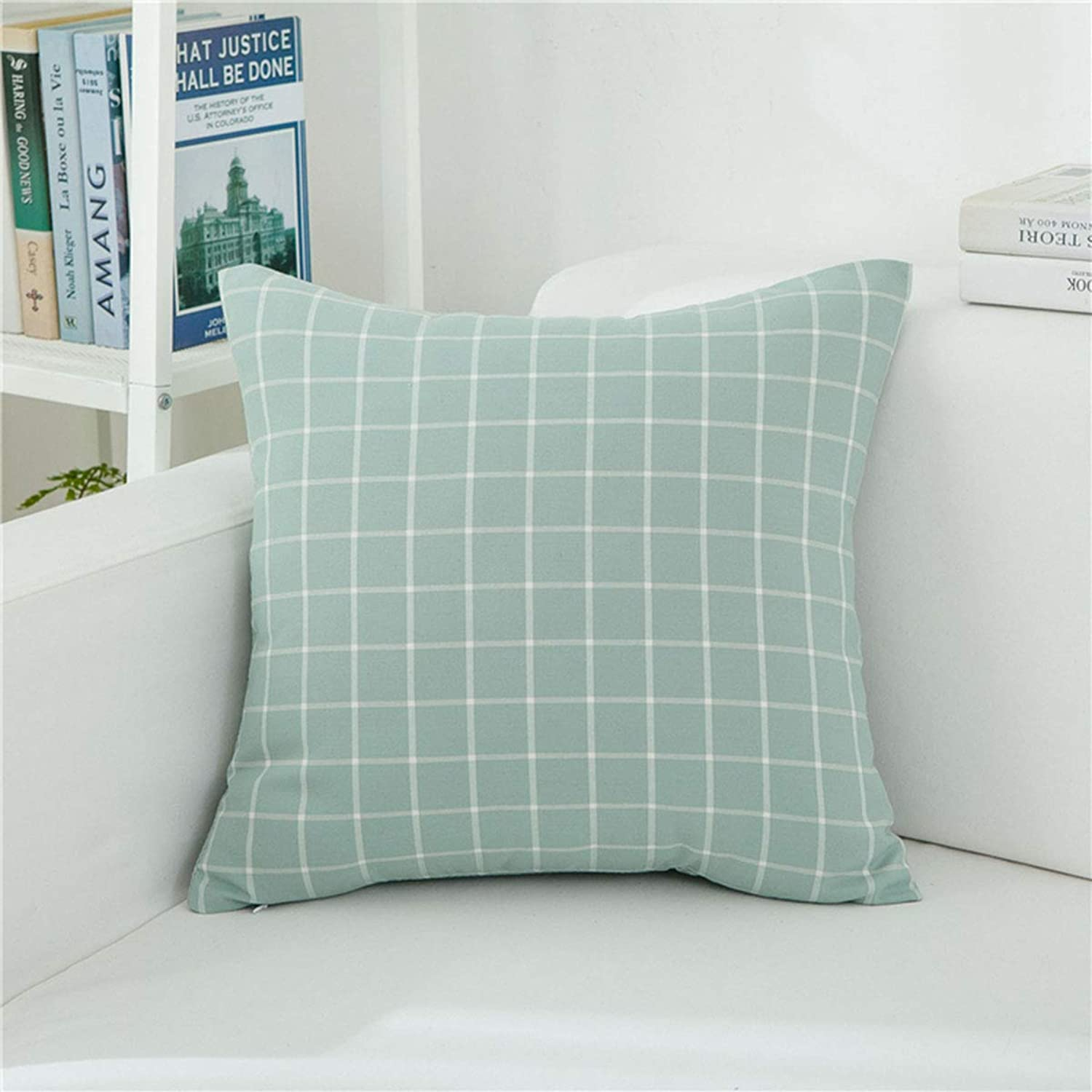 Dapang Plaid Pillow Cushion Cover Linen Square Pillow Cases with Invisible Zippered Valentine Cushion Decor for Bed Sofa, 18 x 18 Inches (color Set 1),3,45  45cm