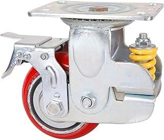 Feixunfan Caster wielen 125mm demping universeel wiel met veer anti-seismische Caster voor opslag rack trolley (kleur: roo...